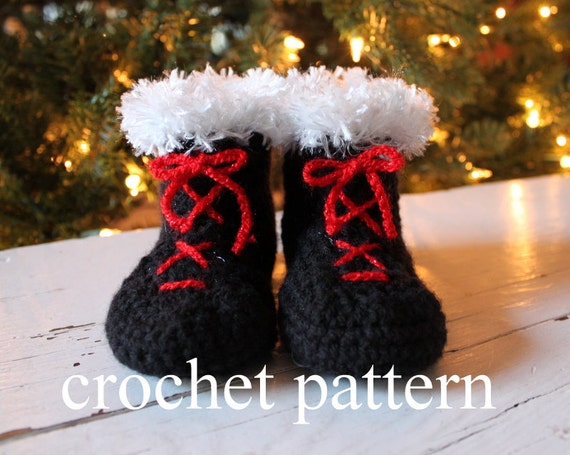 Crochet Baby Santa Booties Pattern : Crochet Baby Booties Pattern