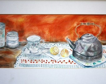 Teapot -Original Watercolor - Framed and Matted -Signed and Dated by the Artist-