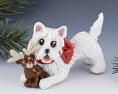 West Highland White Terrier Ornament Reindeer Porcelain
