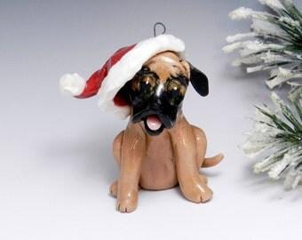 Great Dane Christmas Ornament Santa Hat Handmade Porcelain