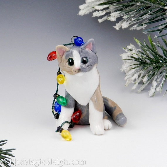 Cat Dilute Calico Ornament  Christmas lights Porcelain