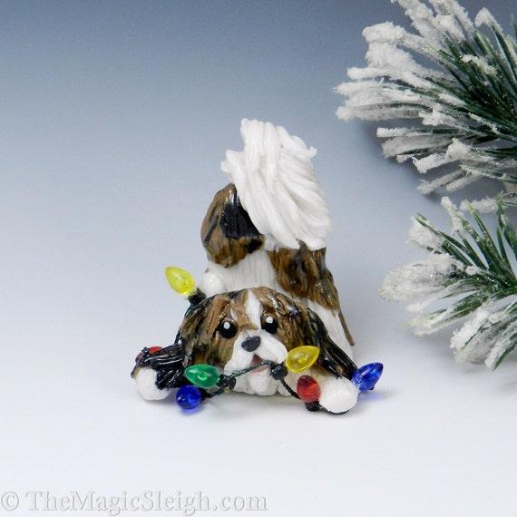 Shih Tzu Ornament with Christmas lights Porcelain Sculpture
