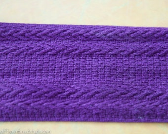 3 yards of Mod Vintage Trim -  60s 70s New Old Stock Woven Purple So Cool