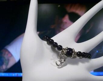 Mala Japa Deep Dark Purple  Om Charm Bracelet  Adjustable