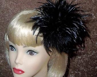 Custom Made Back Hackle Fascinator by Taissa Lada,Black Feathers, Feather Fascinator,Feather Headpiece,Royal Ascot, Gothic Headpiece,Retro