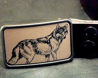Coyote leather belt buckle