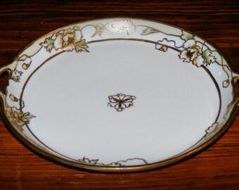 Vintage Hand Painted Nippon Gold Bead Porcelain Floral Handled Tea Plate