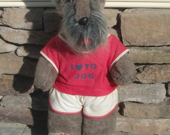 Fun Loving Jogging Schnauzer Stuffed Plush DogTall