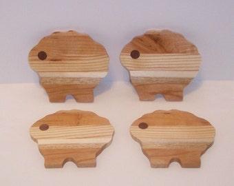 Sheep Wooden Coaster Set  (Set of 4)