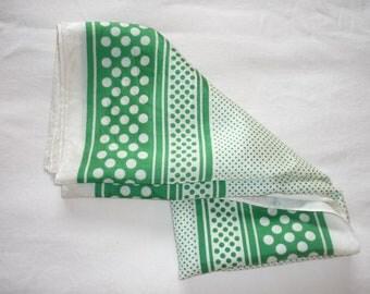 Vintage, vintage scarf, white scarf, green scarf, white polka dot scarf, green polka dots