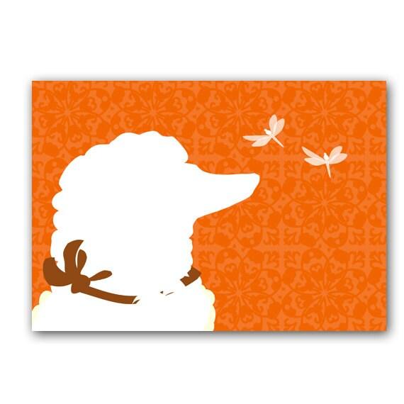Poodle Dog - Fine art print, poodle dog silhouette , dragon flies, poodle art