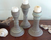 set of three ceramic candle holders votive holders pebble blue trio (on HOLD for Rachel)