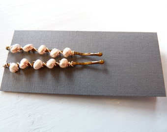 Pearl Hairpins Bobby Pins Light Pink Freshwater Pearls