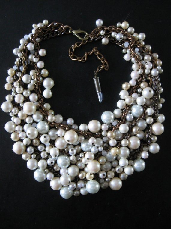 Mermaid Farts - Upcycled Pearl Bib Necklace - Cream Ecru and Brass - Eco Wedding