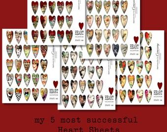 Hearts 25 x 50 mm Digital Collage Sheets no260