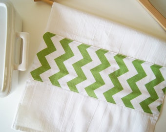Kitchen Towel in Chevron - Green and White