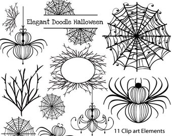 Halloween Elegant Doodle Digital Clip art Frames and Tags  Commercial use InstaNt DoWnLoAd