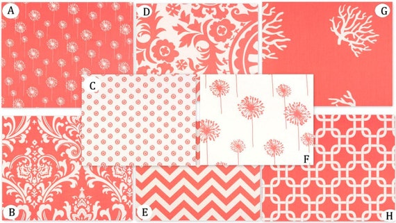 Coral and White Custom Crib Bedding Set  YOU DESIGN- Coral and White Collection Baby Suzani Chain Trellis Chevron Zig Zag Damask Dandelion