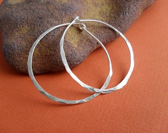Sterling silver hoop earrings Simple beaten organic classic Hammered  Eco sustainable rustic organic textured