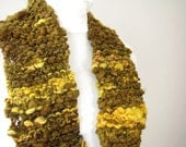 Handknit Brown and Yellow Chunky Thick Knit Scarflette