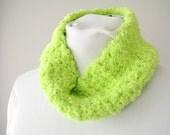 Neon Headband - Lime Green Circle Scarf - Ear Warmers - Crochet Fleece Ear Muffs