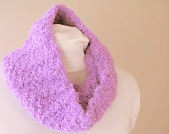 Purple Chenille Cowl for Teens Women Tween Girls - Crochet Purple Fleece Circle Scarf