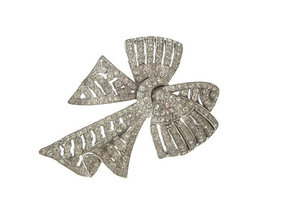 Art Deco Brooch Large Bow Pin Vintage Original 1920s Art Deco Jewelry