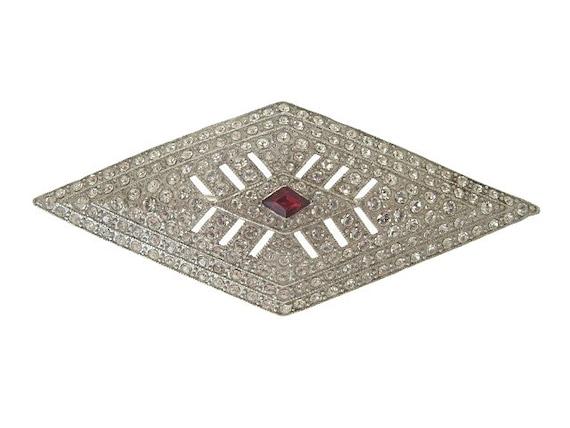 Coro Art Deco Brooch, Vintage Designer Ruby Bridal Jewelry, Antique 1919 Art Deco Jewelry, Wedding Jewellery