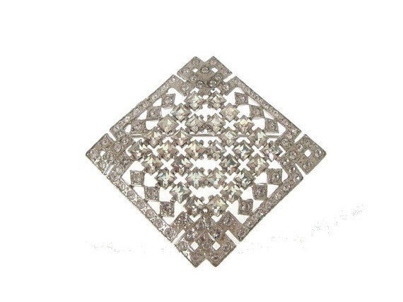 Art Deco Brooch Pin French Cut Vintage Rhinestones 1930s Wedding Jewelry