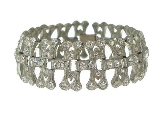 Art Deco Bracelet Vintage 1920s Book Piece Art Deco Jewelry Rhinestone Wedding Bracelet