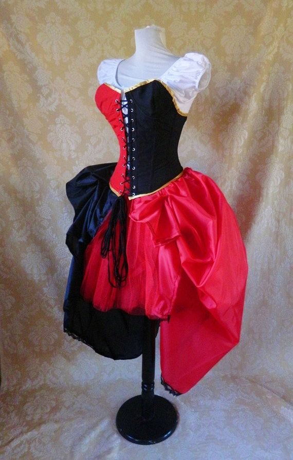 """Harley Quinn Bustle Tie On Skirt and Tutu Set-To Fit Up To A 35"""" Waist"""