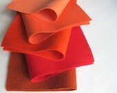 Brick, Red, Orange-Red, Shrimp, Coral, Five Felt Sheets, 100% Wool, Brick Yard Color Story, Wool Felt Fabric