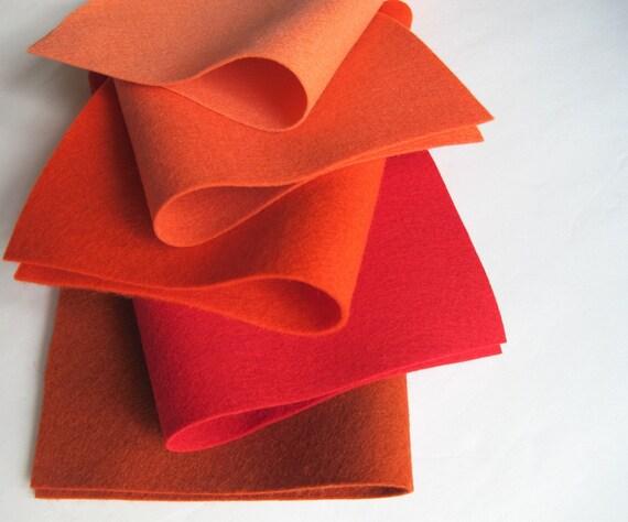 100% Wool, Felt Fabric Set, BrickYard Color Story, Waldorf Crafts, Sewing Supply, Red, Brick, Orange-Red, Coral, Shrimp, DIY Craft Supply