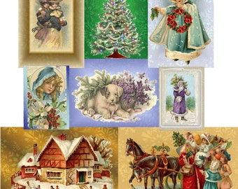 Digital Collage Sheet, ACEO size Collage Sheet, Vintage Christmas Digital ACEO, Elegant Holiday Collage, Instant Download and Print Collage