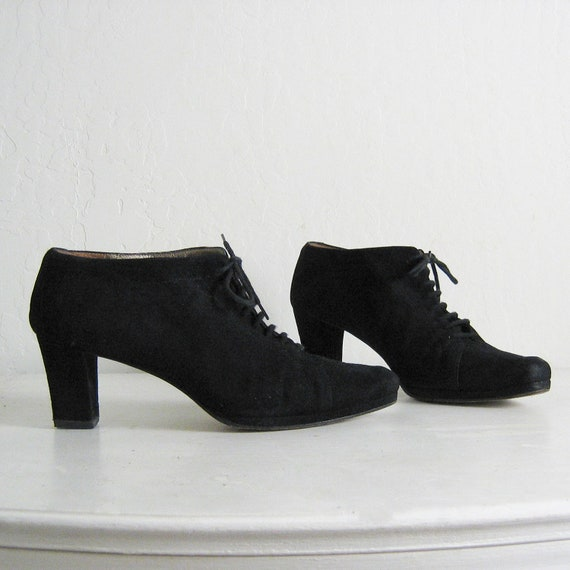 1980s ITALIAN SUEDE lace up OXFORD heels, 9