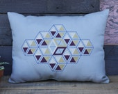 Embroidered Isometric Stacked Cube Pillow- Grey and Tan Canvas