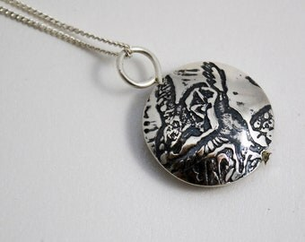 Small Sterling Silver Crow Capsule Pendant