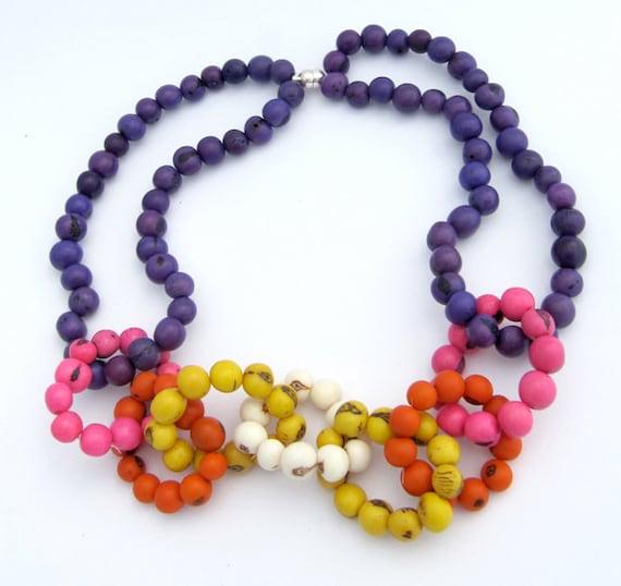 OOAK color blocking statement bead chain necklace açai beads
