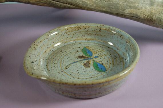 Pottery Dragon Fly Spoon Rest Hand Painted Underglaze And Beach Blue Glaze
