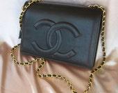 Vintage 80s Chanel Black Leather Bag