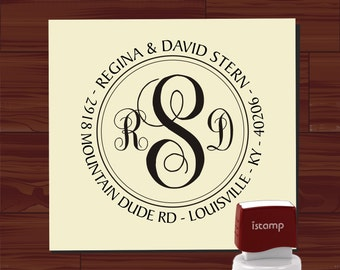 Three Letter Monogram Custom Self Inking stamp - Return Address Rubber Stamp - style MS5379