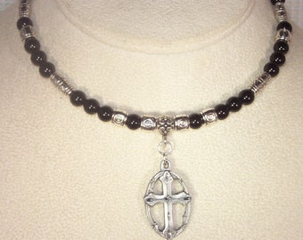 Gemstone and Silver Necklace - Black Onyx - Brushed Pewter Cross