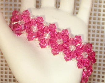 Swarovski Crystal Jewelry - Bride, Bridesmaids, Maid of Honor Bracelet - Any Color - Shown in Rose