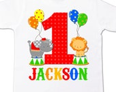 circus 1st birthday shirt PRIMARY COLORS - circus elephant lion theme birthday party shirt