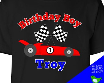 Birthday boy personalized any age racecar dark tshirt