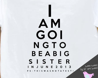 big sister shirt - funny eye chart pregnancy announcement t- shirt