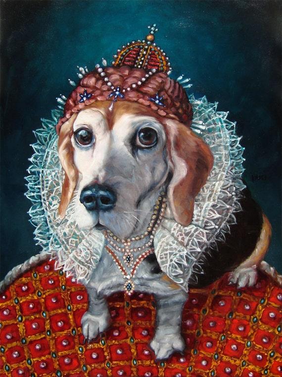 Regal Beagle Pet In Costume Custom Pet Portrait Oil Painting