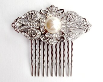 Victorian Pearl Hair Comb - Bridal Comb - Antique Silver Rhinestone Brooch - Vintage Style Hair Piece - Dark Pewter Silver