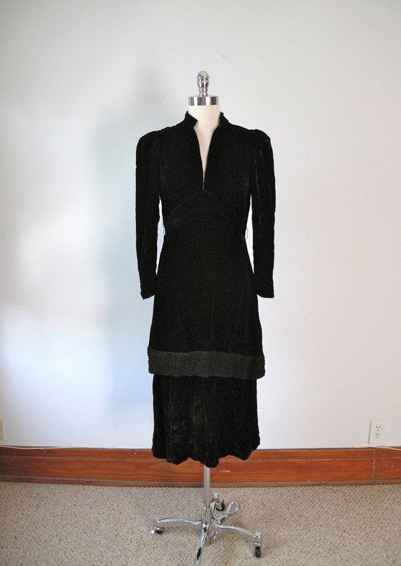 RESERVED FOR Dilan Ibrahim  - 1930s Dress - Black - Silk Velvet