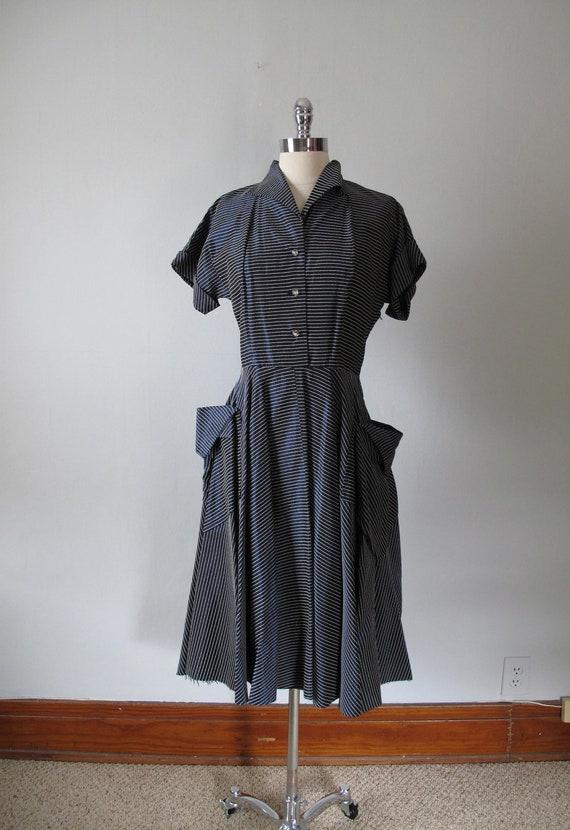 RESERVED FOR Dilan Ibrahim - 1940s Dress - Stripes - Midnight Blue